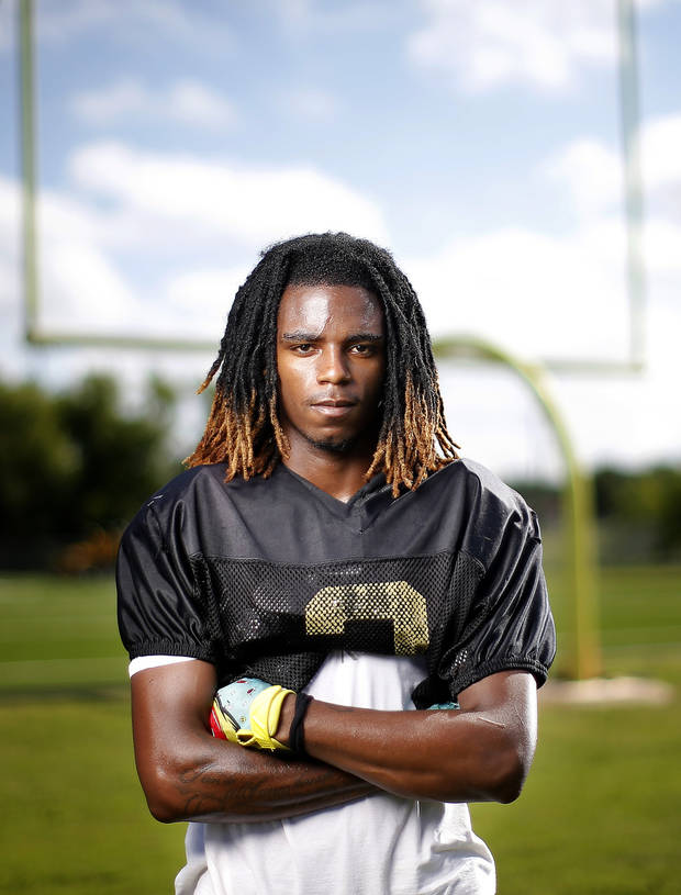 Midwest City's Makale Smith poses for a photograph at Midwest City High School in Midwest City, Okla., Tuesday, July 7, 2020. Photo by Sarah Phipps, The Oklahoman