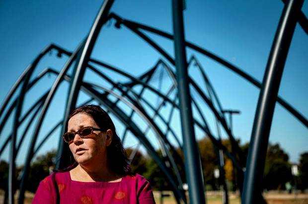 "Artist Romy Owens speaks about her public art project ""Under Her Wing Was the Universe"" in Enid, Okla. on Thursday, Oct. 17, 2019. [Chris Landsberger/The Oklahoman Archives]"