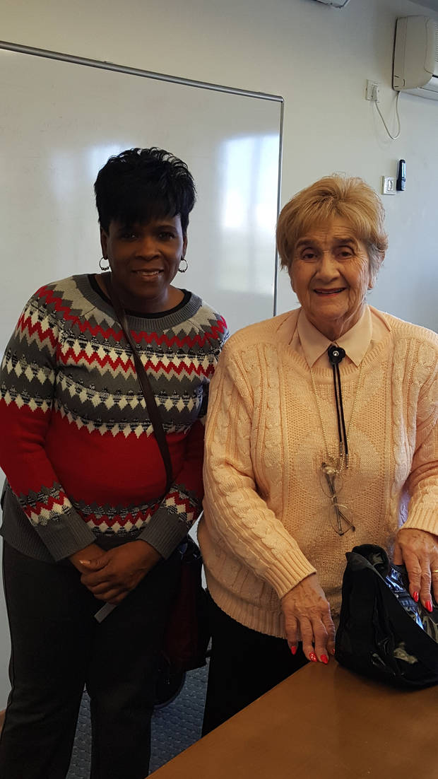 Carla Hinton and Holocaust survivor Rena Quint pose for a photo at the Yad Vashem Holocaust Memorial and Museum in Jerusalem.