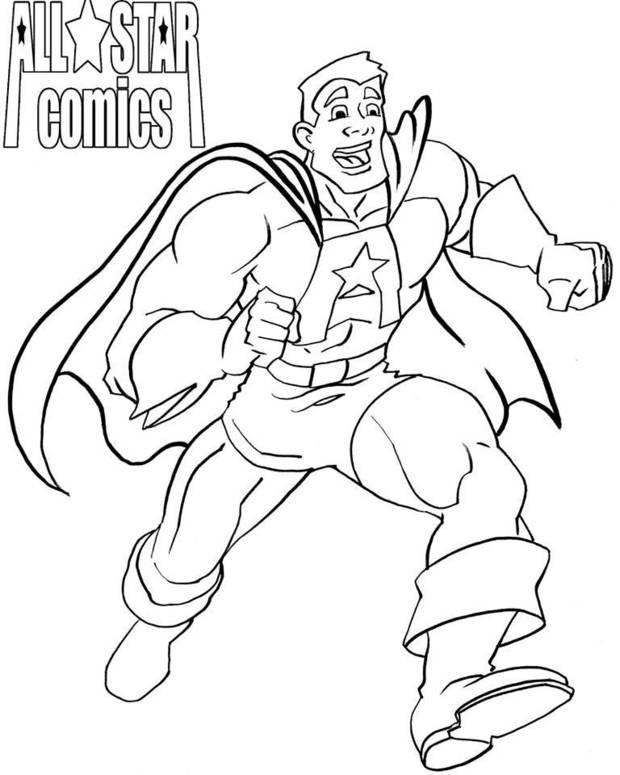All-Star Comics Coloring Sheet by Kent Clark.