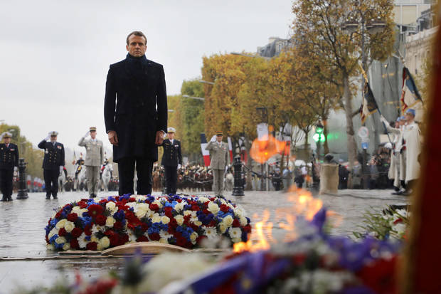 Macron marks Remembrance Day, 101 years since end of WWI
