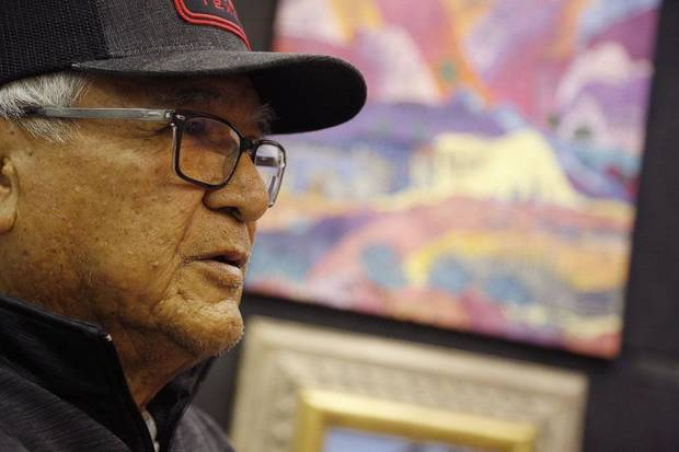 Baje Whitehorne Sr. talks about his artwork at the first day of the 2019 Red Earth Festival at the Cox Convention Center in Oklahoma City, Oklahoma Friday, June 7, 2019. [Paxson Haws/The Oklahoman]