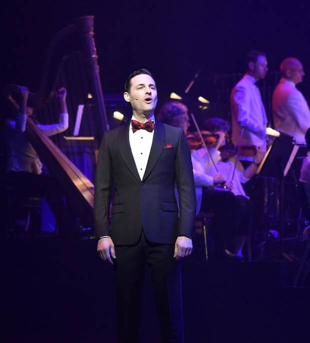 "Tony nominee Max von Essen sings during the Oklahoma City Philharmonic's ""The Christmas Show."" [Wendy Mutz photo]"