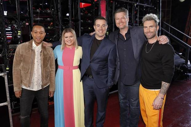 "From left, John Legend, Kelly Clarkson, Carson Daly, Blake Shelton and Adam Levine will all return for ""The Voice"" Season 17. [Photo by Trae Patton/NBC]"