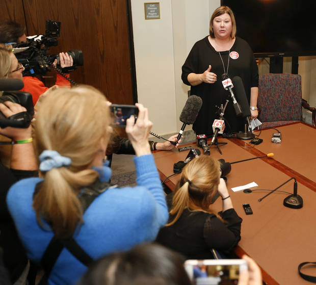 Alicia Priest, Oklahoma Education Association president, gives a press conference during the fifth day of a walkout by Oklahoma teachers at the state Capitol in Oklahoma City, Friday, April 6, 2018. Photo by Nate Billings, The Oklahoman
