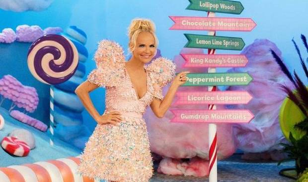 "Kristin Chenoweth hosts the new Food Network competition series ""Candy Land,"" based on the classic board game. ""Candy Land"" premieres at 8 p.m. Nov. 15. [Food Network photo]"