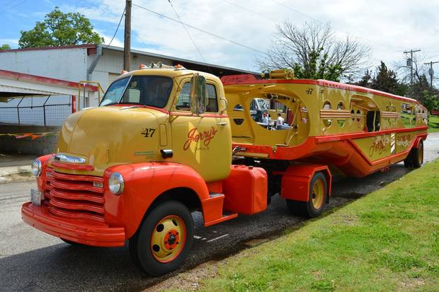 This restored 1947 auto transport trailer will be on display at the auto show. [PHOTO PROVIDED]