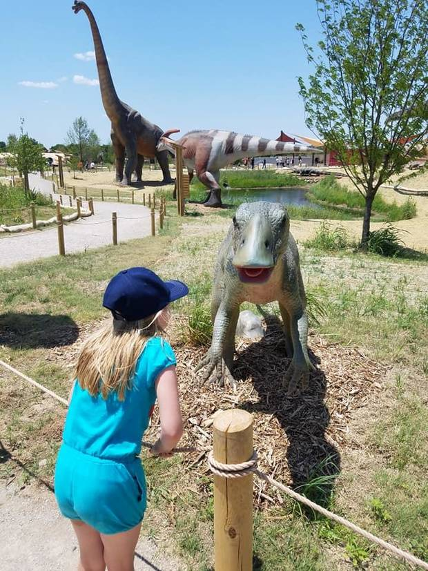 Brenna McDonnell, 8-year-old daughter of Features Writer Brandy McDonnell, looks at a life-sized Claosaurus at Field Station: Dinosaurs in Derby, Kansas. [Photo by Brandy McDonnell, The Oklahoman]
