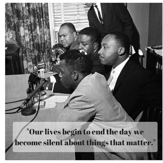 The photo above was taken May 23, 1961. Civil rights leaders, from front to back, John Lewis, Martin Luther King Jr., the Rev. Ralph Abernathy and James Farmer, hold a news conference in Montgomery, Ala., to announce that the Freedom Rides will continue. Lewis, one of the riders who was beaten, has a bandage on his head. [Associated Press photo]