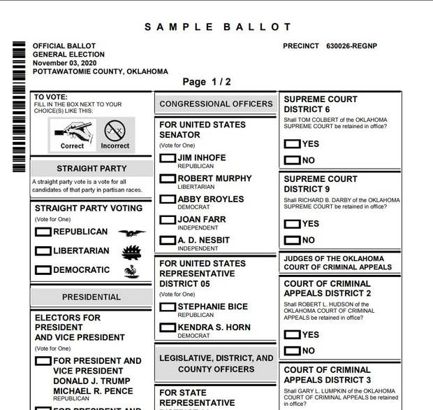 A sample ballot for a voter in Pottawatomie County.
