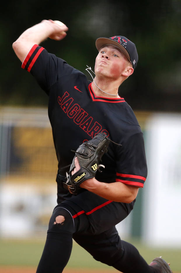 Westmoore's Kale Davis throws a pitch during a high school baseball game between Westmoore and Norman at Westmoore High School in Moore, Okla., Tuesday, April 16, 2019. Photo by Sarah Phipps, The Oklahoman