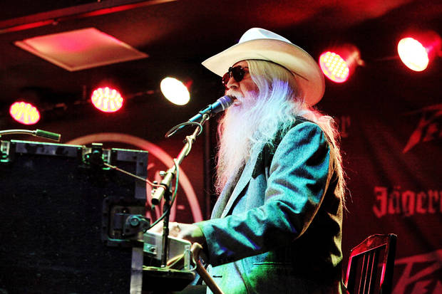 Tulsa musician and recording artist Leon Russell thrilled an energized audience for more than an hour on April 25, 2010, when he performed on the Jaegermeister stage at Norman Music Festival in downtown Norman. [Photo by Jim Beckel, The Oklahoman]