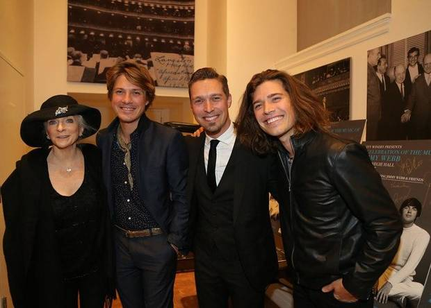 "Judy Collins, left, and members of the Tulsa-based band Hanson, Taylor Hanson, Isaac Hanson and Zac Hanson, appear backstage Wednesday, May 3 at ""A Celebration Of The Music Of Jimmy Webb: The Cake And The Rain,"" a benefit concert marking the release of Webb's new memoir ""The Cake and the Rain"" at Carnegie Hall in New York City. Photo provided by Al Pereira"