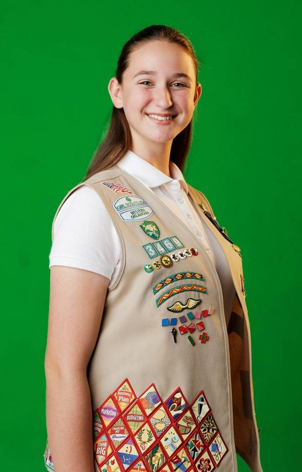 Oklahoma Girl Scout Katie Francis, who has set multiple cookie sales records, is seen on March 24. Photo by Doug Hoke, The Oklahoman
