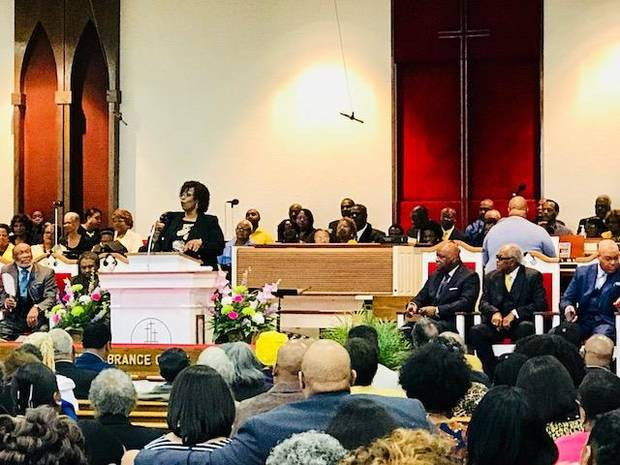 Teacher Debra Davis speaks to a crowd gathered on Sunday, April 8, for a revival at St. John Missionary Baptist Church in northeast Oklahoma City. [Photo by Carla Hinton, The Oklahoman]