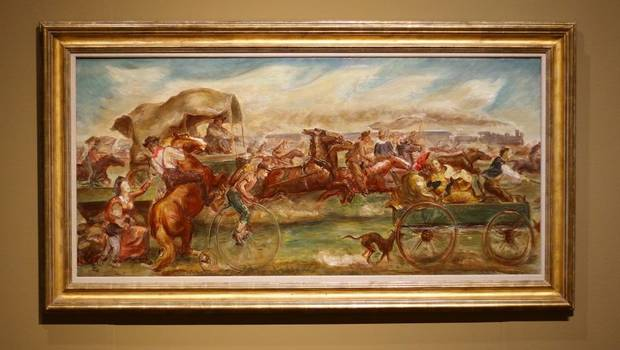 """Oklahoma Land Rush,"" a 1939 oil sketch on canvas by John Steuart Curry, is featured in the Oklahoma City Museum of Art show ""Renewing the American Spirit: the Art of the Great Depression"" Wednesday, October 30, 2019. [Doug Hoke/The Oklahoman]"