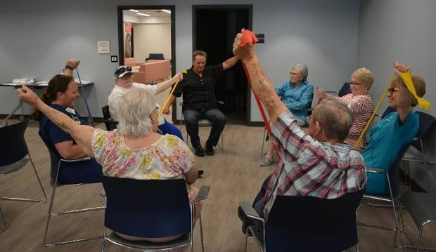 Marlene Snow, at right, leads a diabetes exercise class. [NEWVIEW OKLAHOMA]