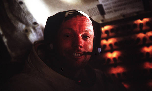 This photograph of Apollo 11 Commander Neil Armstrong was taken inside the Lunar Module while on the lunar surface. [NASA]