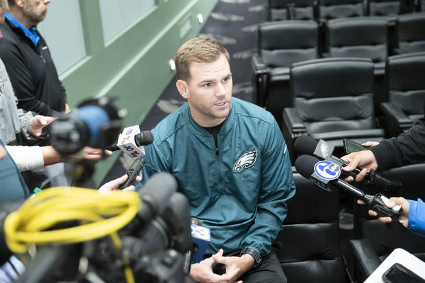 Philadelphia Eagles quarterbacks coach Press Taylor speaks with members of the media at the NFL football team's practice facility in Philadelphia, Monday, June 10, 2019. (AP Photo/Matt Rourke)