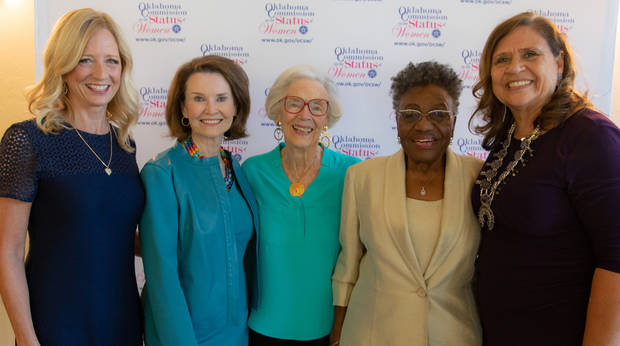 Women's Hall of Fame inductees, from left, include Susan Chambers, Jane Jayroe, Joan Gilmore, Willa Johnson and Kay Rhoads. [PHOTO BY CHARLIE LUDDEN]