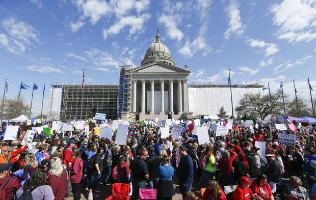 Teachers, students and supporters of increased education funding pack the south side of the state Capitol during the eighth day of a walkout by Oklahoma teachers, in Oklahoma City, Monday, April 9, 2018. Photo by Nate Billings, The Oklahoman
