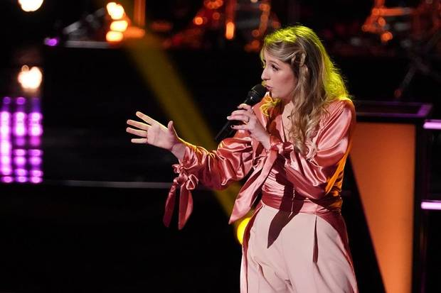 "Kailey Abel competes on the Battle Rounds of ""The Voice."" [Photo by Tyler Golden/NBC]"