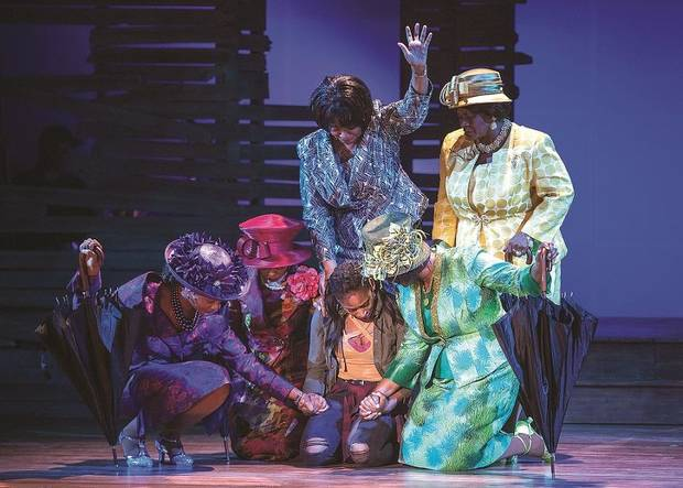 "From left, Kimberly M. Oliver, Kizzie Ledbetter, Ashley Marie Arnold, M. Denise Lee, Nakeisha McGee and Delanie Phillips Brewer appear in a scene from Lyric Theatre's ""Crowns."" Photo provided by KO Rinearson"