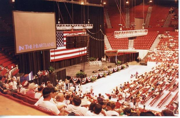 "Concertgoers fill the seats at the July 22, 1995, ""Healing in the Heartland Appreciation Celebration"" at State Fair Arena. The concert was intended to bring people together and celebrate the state's cohesion after the Oklahoma City bombing. [Jim Spearman Collection/Oklahoma City National Memorial & Museum]"