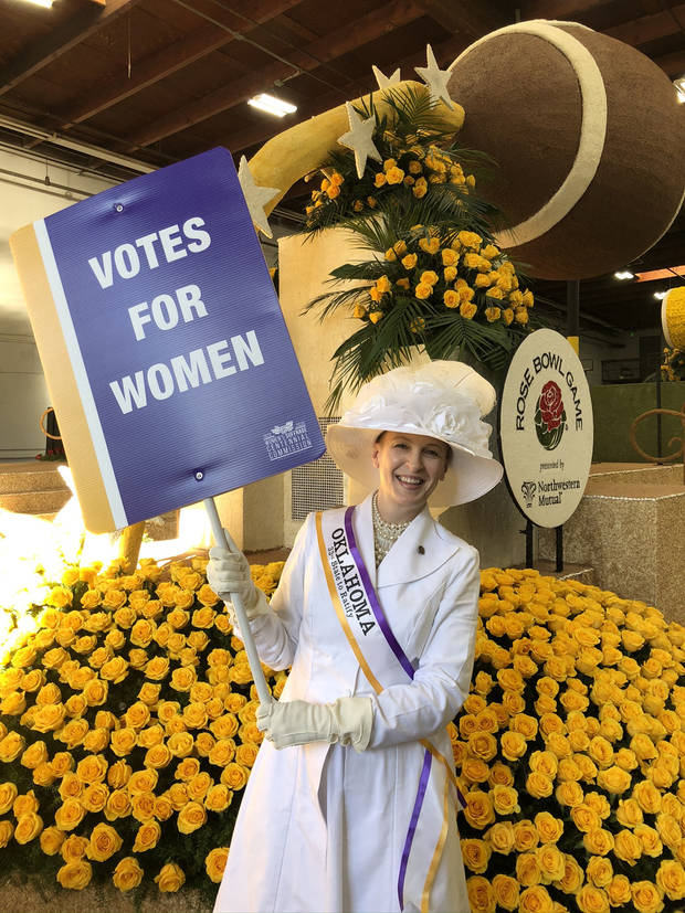 Oklahoma City artist Marilyn Artus officially represented Oklahoma in the Jan. 1 Rose Parade. She was among 100 people who walked with a float marking the 100th anniversary of the 19th Amendment. [Photo provided]
