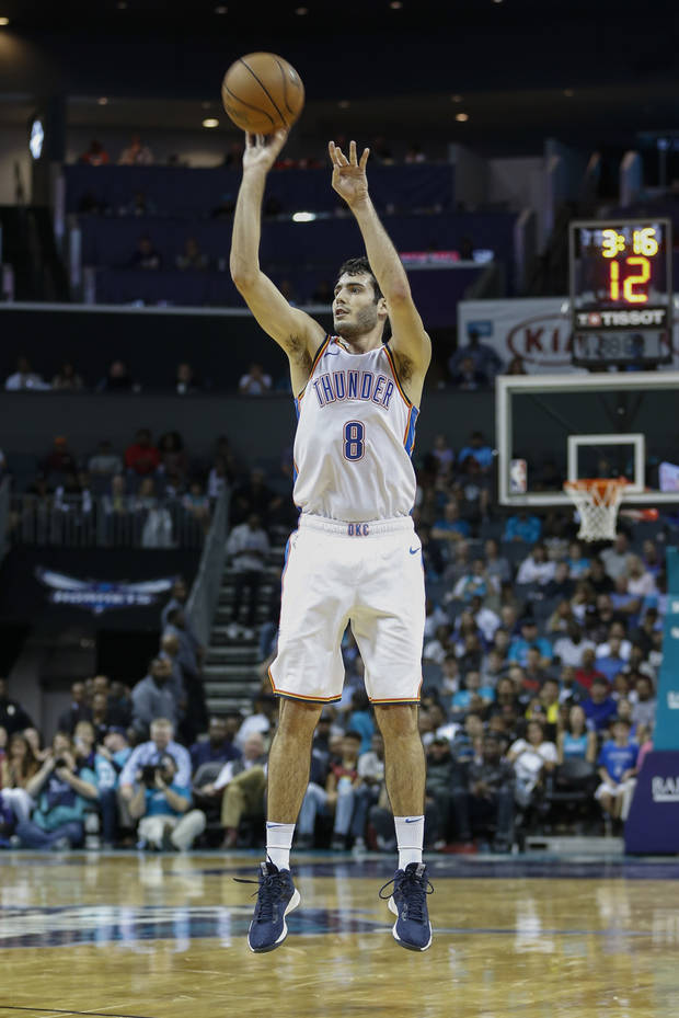 2863485d0b0f Oklahoma City Thunder guard Alex Abrines shoots against the Charlotte  Hornets during the second half of