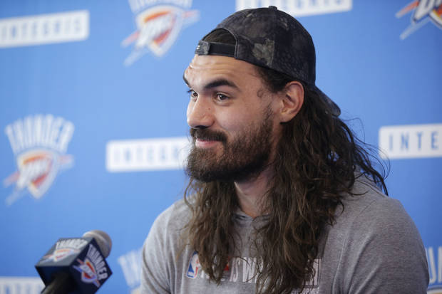 Oklahoma City s Steven Adams speaks to the media during exit interviews for  the Oklahoma City Thunder e56793f7e