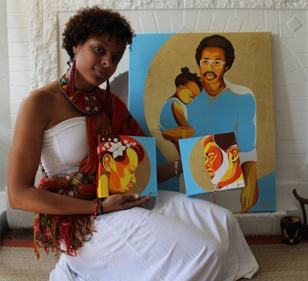 "Oklahoma City artist Ebony Iman Dallas is showing a series of personal paintings with her new solo exhibit ""Through Abahay's Eyes (Through My Father's Eyes),"" opening April 6 at The Paseo Plunge. Shown with the artist are her paintings, from left, ""Strength of My Mother,"" depicting her mother; ""Love of My Father,"" depicting her adoptive father; and ""Kernel of Eternity,"" depicting Dallas as a baby and her biological father, who died before she was born. [Photo provided]"