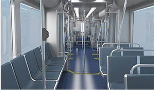 An interior view shows the appointments of Oklahoma City's streetcar. Each streetcar costs nearly $5 million and is designed to run part of the MAPS 3 downtown streetcar route on battery power. [City of Oklahoma City/JACOBS/Brookville Equipment Corp.]