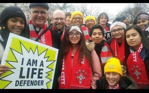 Archbishop Paul S. Coakley, second from left, is shown with a group of Oklahomans participating in the March For Life on Friday in Washington, D.C. [Photo provided]