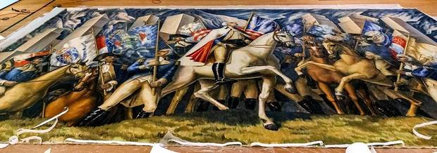 "Conservator Carmen Bria works on the Gardner Hale mural ""The Triumph of Washington"" at the Oklahoma City Museum of Art in Oklahoma City, Okla. on Thursday, Aug. 15, 2019. The mural, which has not been exhibited publicly since the First President´s bicentennial exhibition in 1932, will be the centerpiece of the exhibit ""Renewing the American Spirit"" at the museum. [Chris Landsberger/The Oklahoman]"