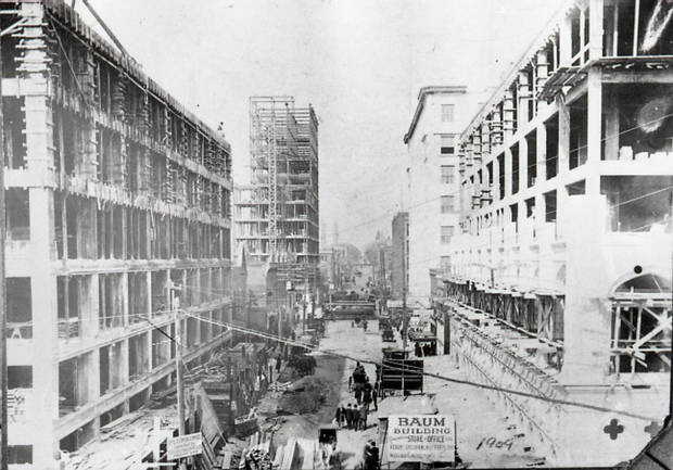 A view during construction.