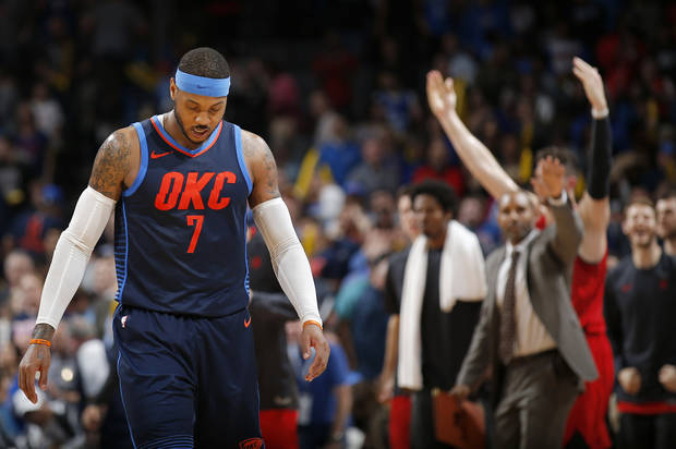 Oklahoma City s Carmelo Anthony (7) walks off the court following the NBA  basketball game 876490b13