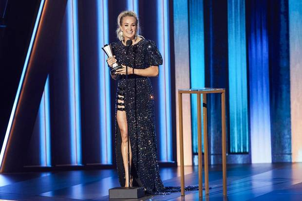 Carrie Underwood wins Entertainer of the Year Wednesday on the 55th Academy of Country Music Awards. [Brent Harrington/CBS]