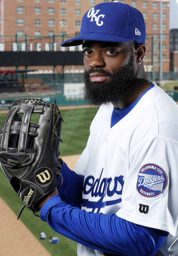 The Oklahoma City Dodgers' Andrew Toles poses during Media Day at Chickasaw Bricktown Ballpark on Tuesday. (Photo by Steve Sisney)