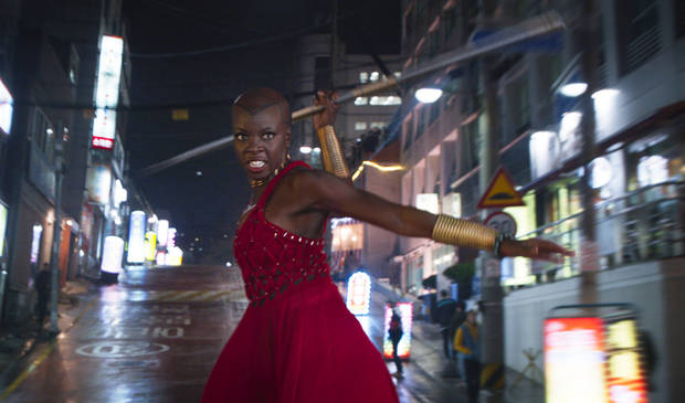 "This image released by Disney shows Danai Gurira in a scene from Marvel Studios' ""Black Panther."" [Photo provided by Marvel Studios-Disney via AP]"