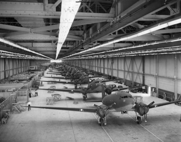 C-47's on the production line at the Douglas plant in Midwest City.