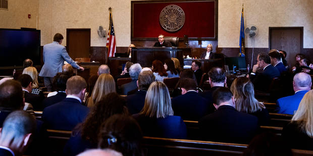 Attorneys made opening statements Tuesday during the start of a trial where Johnson & Johnson and a group of affiliated opioid manufacturers are accused of creating a multibillion-dollar public nuisance that has led to thousands of deaths and addictions. [Chris Landsberger/The Oklahoman]