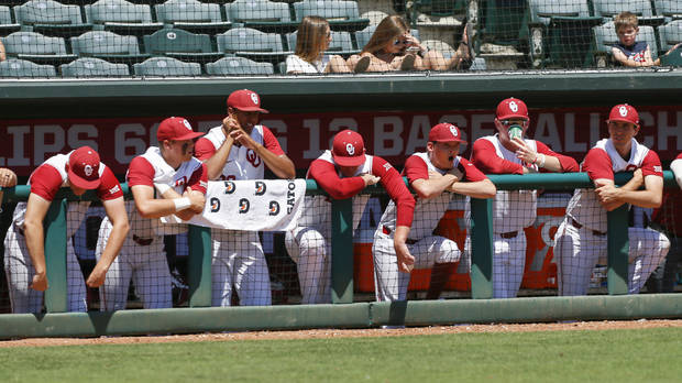 Players in the OU dugout hang dejected in the bottom of the ninth inning in what became a 10-3 loss to Baylor in the semifinals of the Big 12 Tournament three weeks ago. (Photo by Nate Billings)