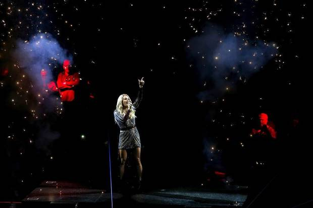 "Carrie Underwood performs at Chesapeake Energy Arena during her ""Cry Pretty Tour 360"" in Oklahoma City, Wednesday, Sept. 25, 2019. [Bryan Terry/The Oklahoman]"