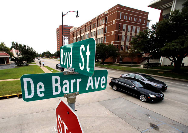 The DeBarr street sign on Boyd Street across the street from the University of Oklahoma (OU) is seen on Thursday, Oct. 5, 2017 in Norman, Okla. Photo by Steve Sisney, The Oklahoman