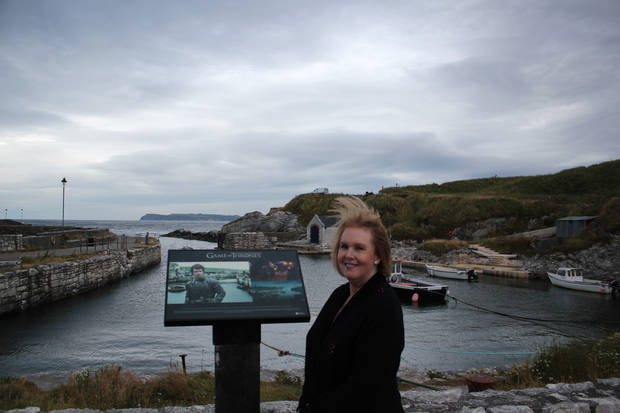 My mom at Ballintoy Harbor where Theon Greyjoy returned home to the Iron Islands. (Matt Patterson)