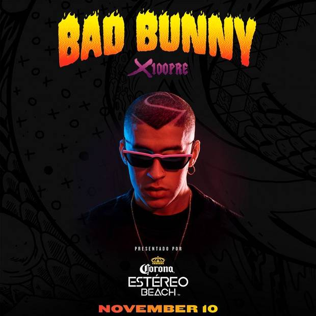 "Grammy-nominated rapper-songwriter and Latin music's ""King of Trap,"" Bad Bunny is announcing the extension of his North American ""X100PRE Tour,"" presented by Corona Estéreo Beach. [Poster image provided]"