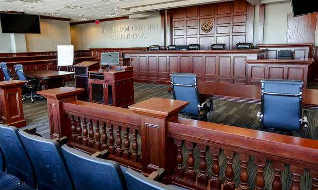 The student courtroom in the Oklahoma City University School of Law building in downtown Oklahoma City. (Photo by Chris Landsberger, The Oklahoman)