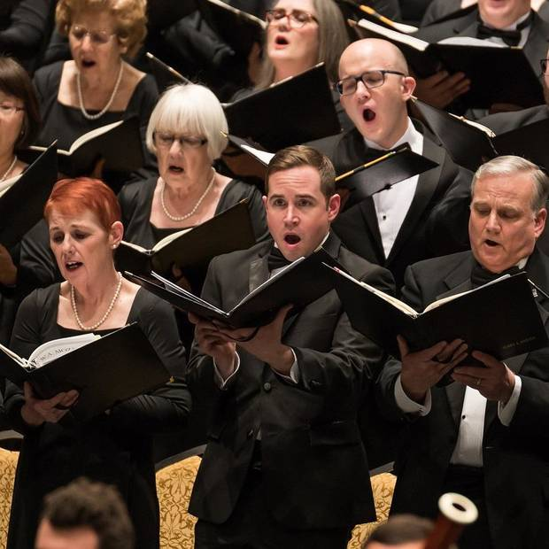 "Canterbury Voices will close its 2018-19 season April 13 by performing the perennial favorite ""Carmina Burana"" at the Civic Center Music Hall. [Photo by Michael Anderson, performingartsphotos.com]"