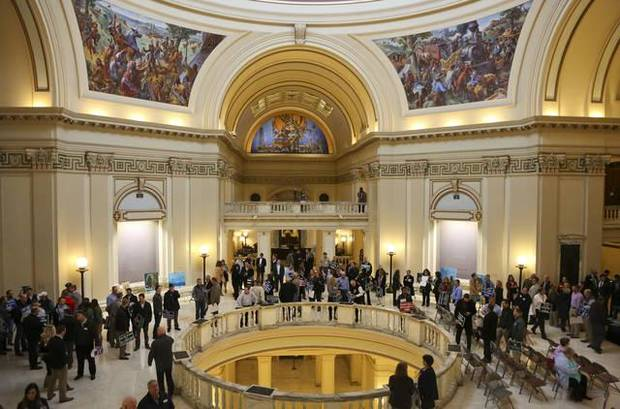 Hundreds of supporters and workers of the oil and gas field are bussed into the Capitol to lobby against HB 1054 before the House of Representatives special session on Wednesday Nov. 8, 2017. JESSIE WARDARSKI/ Tulsa World